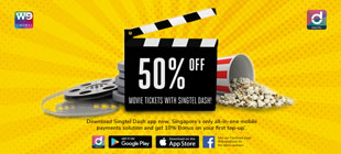 50% off Movie Tickets with Singtel Dash!