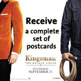 Receive a complete set of Kingsman The Golden Circle postcards (8 characters)