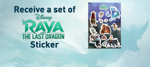Receive a set of Disney's Raya and the Last Dragon Sticker